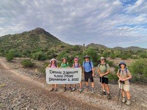 Active adults in the PebbleCreek Hiking Club enjoying Estrella Mountain Regional Park.